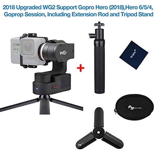 Feiyutech WG2 3-Axis Wearable Gimbal for GoPro HERO5 HERO4 Session AEE SJCam and Other Similar-Sized Action Cameras Including Mini Tripod Stand and Extension Pole