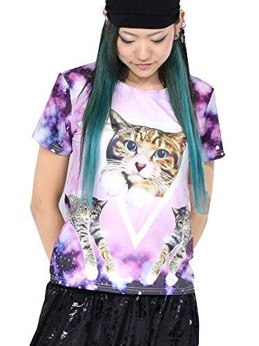 取り扱いペースト専門化する(エーシーディーシーラグ) ACDCRAG アンジ チビTシャツ Tシャツ 半袖 猫 猫柄 宇宙柄 紫 パープル