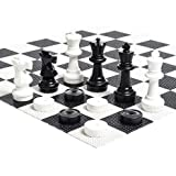MegaChess Large Chess Set - 12 inch King; Bundle with Garden Checkers Set and Large Chess Board (3 items)