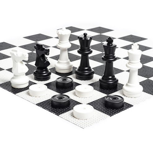 MegaChess Large Chess Set - 12 inch King; Bundle with Garden Checkers Set and Large Chess Board (3 items) by MegaChess