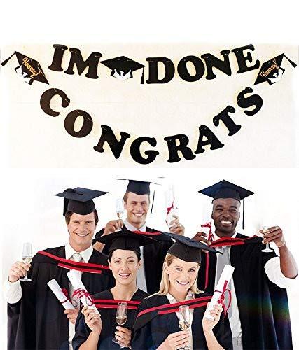2 Sets Graduation Banner- I M Done/Congrats with Grad Caps Symbol Photo Props, 2018 Graduation Party Decoration Supplies for High School College Graduation Celebration -