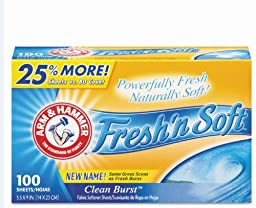 Arm & Hammer 84140 Clean Burst Dryer Sheets 100-Count Box (Case of 6)
