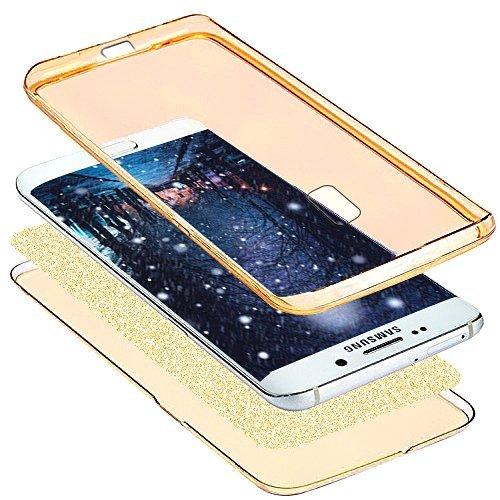 Funda Carcasa Protectora 360 Grados para Samsung Galaxy J3 2017 Samsung J330,Ukayfe Full Body Funda de silicona TPU en Transparente Ultra Slim Case Protección Completa Doble Cover Smartphone Móvil Acc Oro