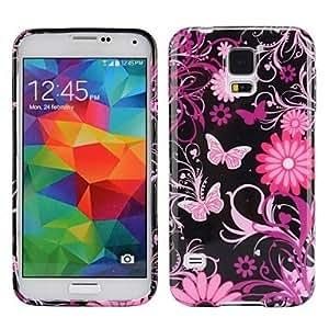 TY-Hot Pink Flowers patrón Ultra-slim caja suave del gel de TPU suave para Samsung Galaxy i9600 S5
