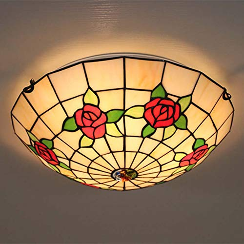 QCKDQ 16 Inch Ceiling Lights, Tiffany Style Semi Flush Mount Ceiling Fixture with Rose Flower Stained Glass Lamp, Retro Livingroom Decoration Lights E27,RedRoses