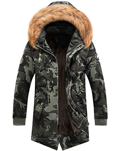 Veste Blouson Randonnée Capuche À Ski Style Militaire Fourrure Chaude Noir Parka De Camo Jacket D'hiver Col Homme Manteau OAaw00