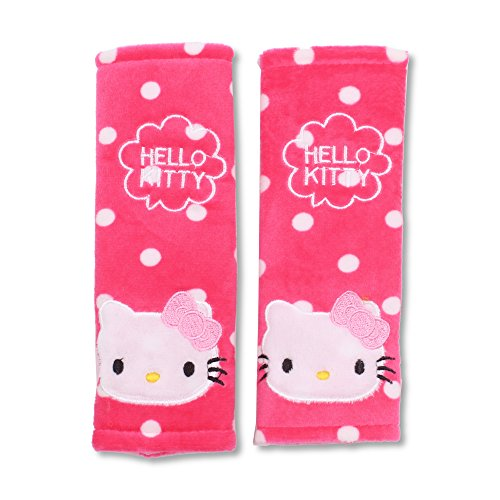 Finex Set of 2 Hello Kitty Pink Car Seat Belt Strap Cover Shoulder Pads Polka Dot (Hello Kitty Seat Cover For Car)
