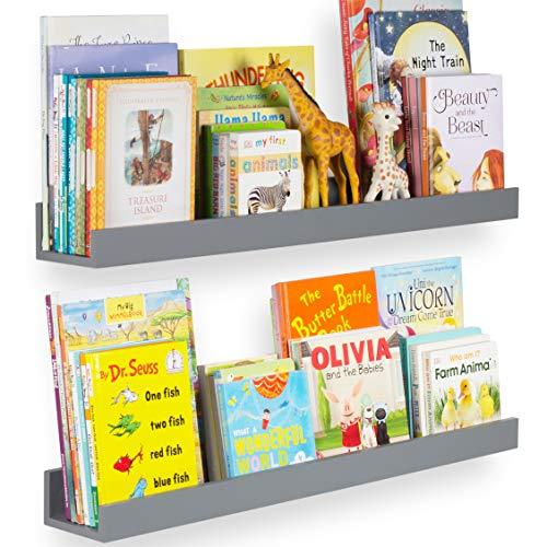 "Wallniture Denver 34"" Wall Mount Kids Bookshelves - Floating Shelves for Books, Toys and Picture Ledges, Gray, Set of 2"