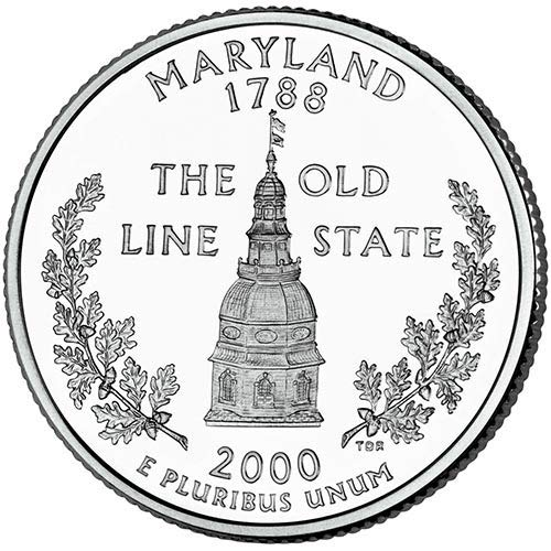 2000 S Clad Proof Maryland State Quarter Choice Uncirculated US - Cents Coin Quarter 25