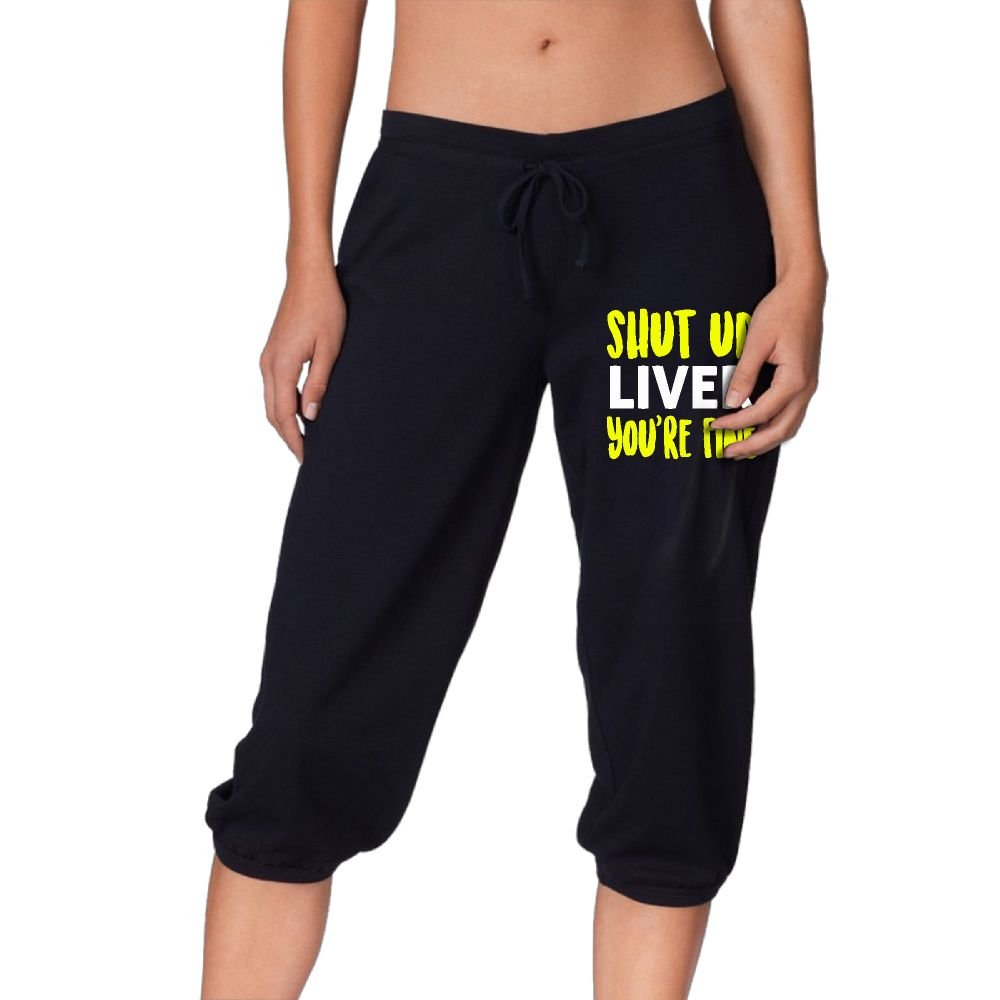 HLGd39-5 Women Power Flex Jogger Sweatpants Shut up Liver You're Fine Workout Leggings Capris