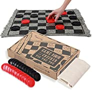 OleOletOy Super Tic Tac Toe and Giant Checkers Set Board Game with 24 Checker Pieces Reversible Rug, Classic I