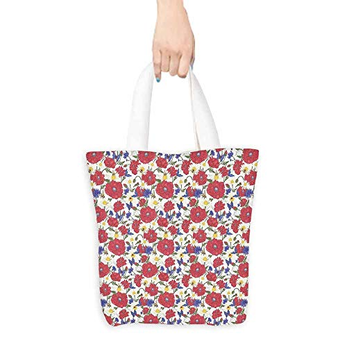 Floral Merchandise Bags Blooming Red Poppies Chamomile Ladybird and Daisies Bumblebee Bees and Butterflies Ripstop Waterproof 16.5