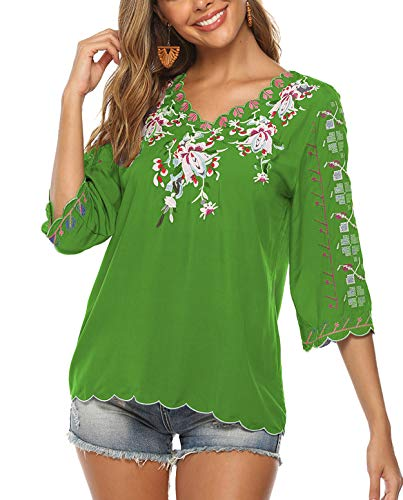 ZILIN Women's Floral Embroidered Short Sleeve Shirt Mexican Blouse Tops Green