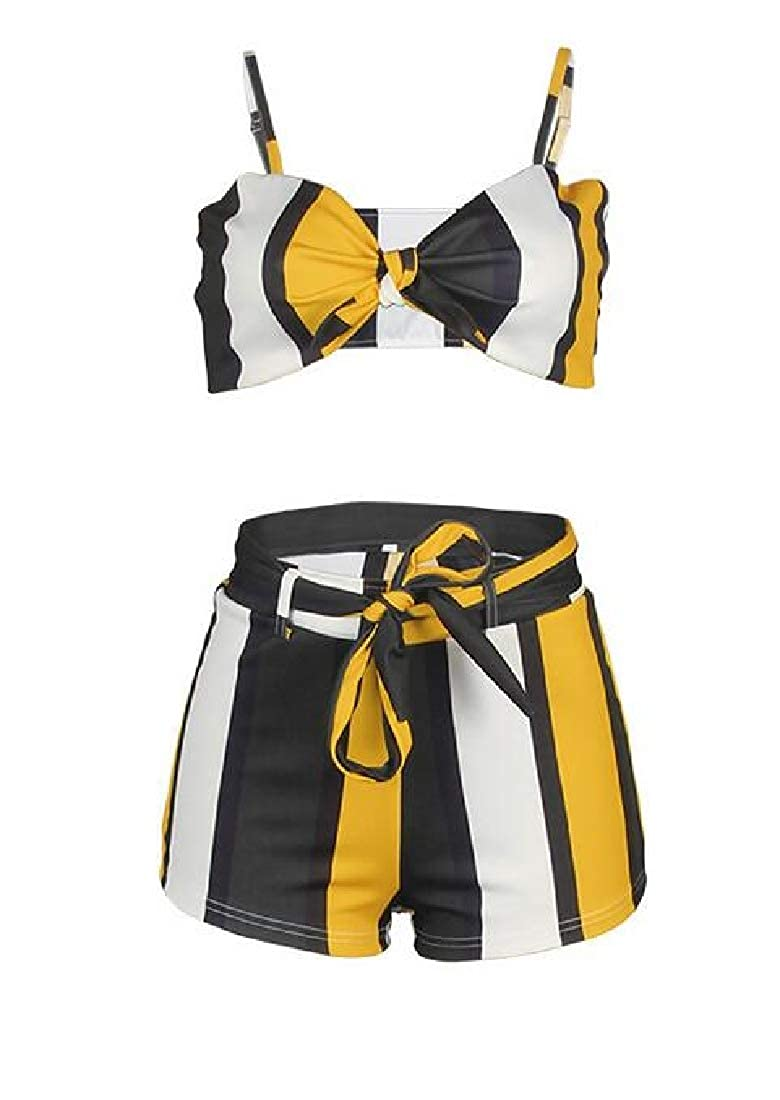 Spirio Womens Club Striped Shorts with 2 Pieces Bra Tracksuit Outfit Set