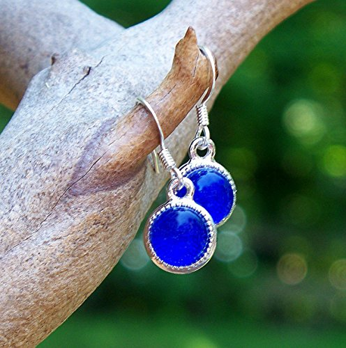 Repurposed Costume Jewelry (Recycled Vintage Cobalt Noxzema Jar Glass Color Dot Earrings)