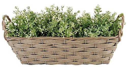 Esschert Design USA WB23 Artificial Wicker Plant Basket with Handles, Rectangular (Wicker Plant)