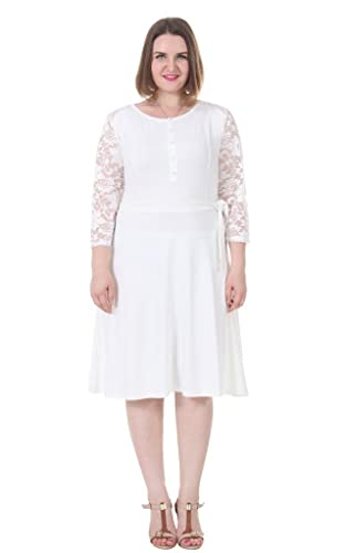 Sapphyra Women's Plus Size Scoop Neck Lace Sleeve Belt Briesmaid Dresses 1X-5X
