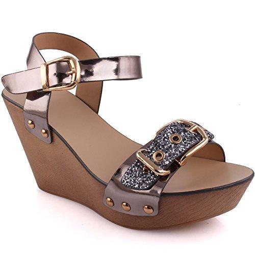 Zapatos de punta abierta Unze London para mujer RzqYop