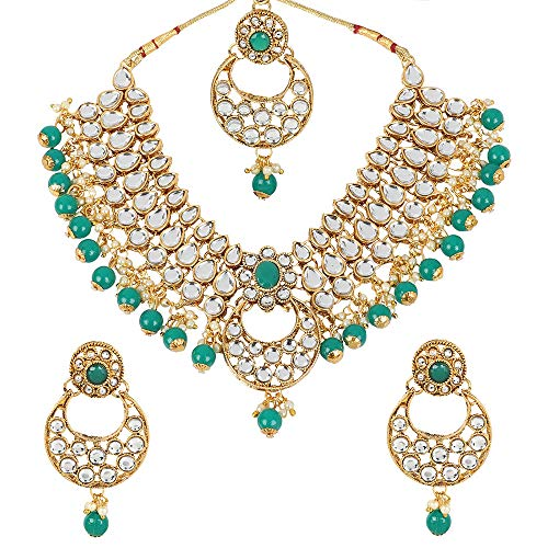 MUCH-MORE Indian Polki Necklace Set,Indian Jewellery,Women's Jewellery,Necklace (3065GREEN)