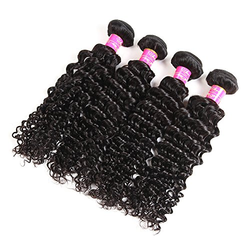 Brazilian Virgin Hair Deep Curly Wave 3 Bundles 100% Unprocessed 6A Human Hair Extensions Natural Color Mixed Length (8 10 12inch)