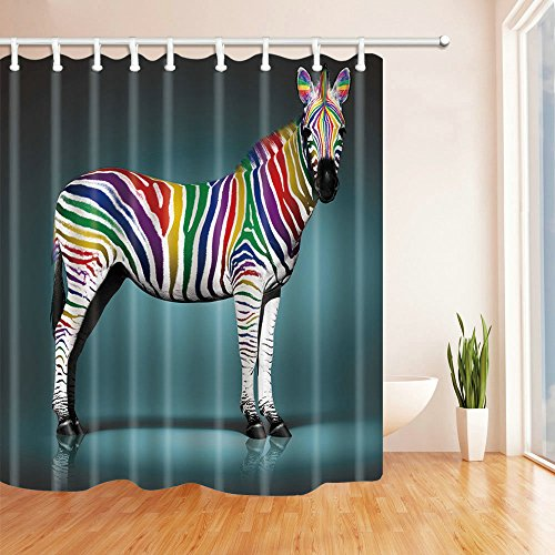 AMHNF Simple Blue Black Background Personality Color Stripes Zebra Shower Curtain Hanging Curtain 70x70 Inches Send Hook Personality Bathroom Curtain