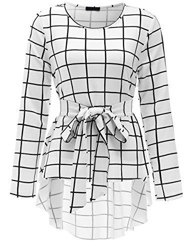 Romwe Women's Raw Hem Long Sleeve Belted Flare Peplum Blouse Shirts Top White S