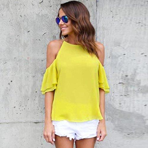 FNKDOR Mujeres de hombros Tops Camiseta de manga corta Casual Blusa suelta camiseta Amarillo