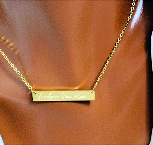 Personalized Stainless Steel Gold Monogrammed Name Bar Necklace Charm & Chain Nameplate Engraved FREE
