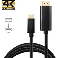 TERSELY USB-C to HDMI 4K Cable, Type C to HDMI 6 Feet / 1.8m Cable, USB 3.1 Type C Male to HDMI Male, for MacBook Pro/iMac 2017/Chromebook Pixel/Yoga 910/Samsung S10 S9/Plus Note 9/Huawei Mate