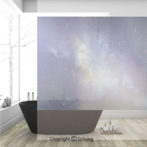 3D Decorative Privacy Window Films,Stars in Sky Supernova Comet Constellation Light Years Meteor Planetary Image,No-Glue Self Static Cling Glass film for Home Bedroom Bathroom Kitchen Office 36x36 Inc
