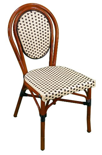 able Side Chair with Aluminum Frame, Ivory Black (Pack of 2) ()