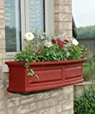 Mayne Nantucket 48'' Window Box Combo with Corbel Brackets - Red 4'