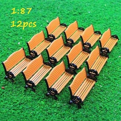 FidgetGear ZY35087OO 12pc Model Railway Platform Park Street Seat Bench Settee Chair1:87 HO