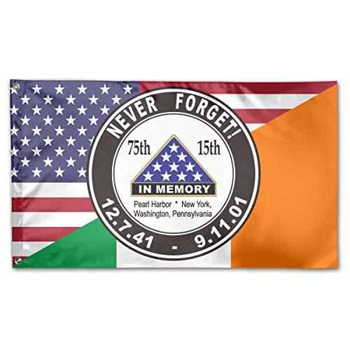 TTHOMT Pearl Harbor 911 Anniversary Never Forget Irish American Flag Home Garden Flag Yard Outdoor Indoor Decorative Flag 3x5 Ft ()