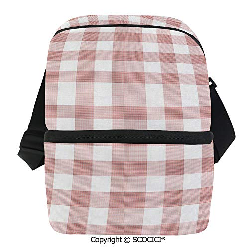 SCOCICI Collapsible Cooler Bag Picnic in Countryside Themed Gingham Pattern in Light Colors Print Insulated Soft Lunch Leakproof Cooler Bag for -