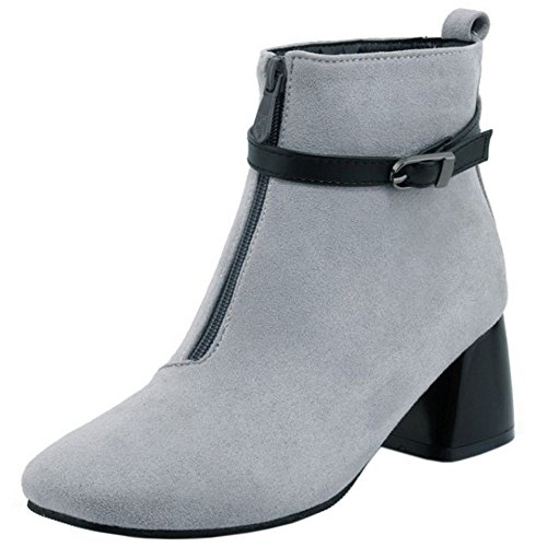 COOLCEPT Mujer Moda Ankle Botas Cremallera With Belt Hebilla Grey