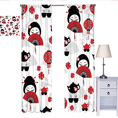 W Machine Sky Lantern Bedroom Curtains Geisha Japanese Fan Ancient Chinese Traditional Tea Pot Lanterns Floral Graphic Design Curtain Living Room Black Red W72 x L96