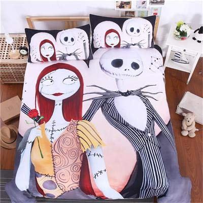 (CHITOP Nightmare Before Christmas | 3D Nightmare Before Christmas eve Decoration Bedding Set Bedclothes Unique Design no Fading Duvet Cover us Twin Full Queen)