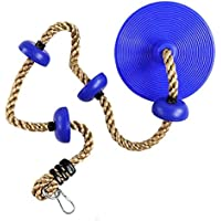 E EVERKING Kingdom Climbing Rope with Platforms and Disc Swing Seat Set Playground Accessories Including Hanging Strap &Carabiner 220lb Weight Capacity