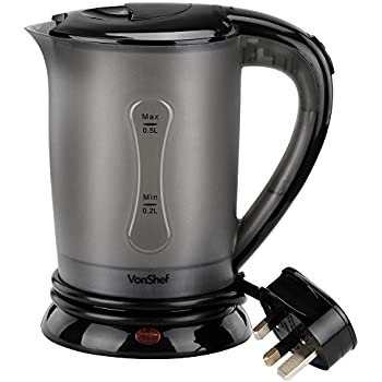 VonShef 220 240 Volts Travel Kettle with 2 Cups - Portable and Compact Design - 0.5L | 220v 240v (NOT FOR USA)