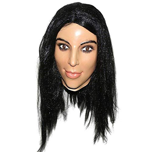 Realistic Female with Long Hair Striking Women Celebrity Mask Human Face Disguise Halloween Costume -