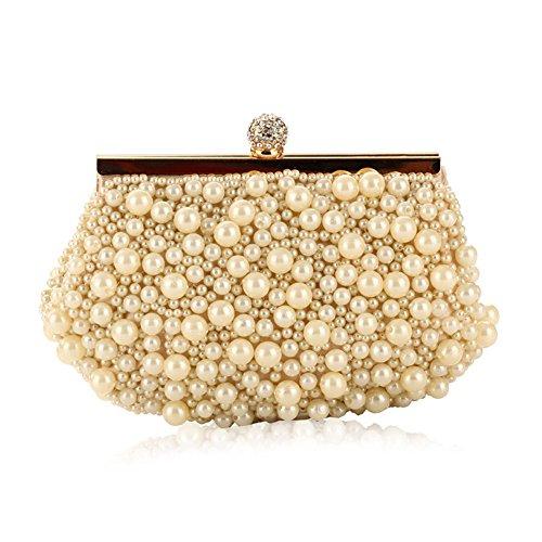 Flada - Cartera de mano para mujer blanco blanco perla mediano Pearl Rice White