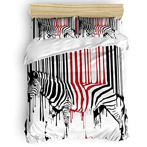4 Pieces Duvet Cover Set with Zipper Closure Corner Ties Abstract Paint Zebra Black and Red Lightweight Microfiber Bedding Set Soft Breathable Durable Comforter Cover Full Size -