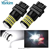 Yorkim Super Bright 3157 White LED Bulb, 3157 LED Brake Lights, 3157 LED Backup Reverse Lights, 3156 LED Tail Lights, Turn Signal Bulb with Projector - 3056 3156 3057 3157 4157 LED Bulbs, Pack of 2