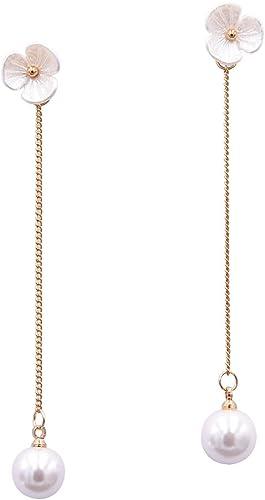 Women Elegant Earrings Stud Long Simulated Pearls Crystal Drop Dangle Jewelry D