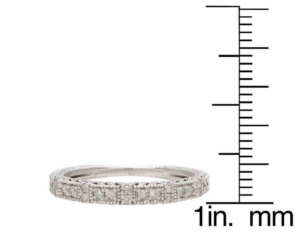 10k White Gold Vintage-Style Engraved Diamond Wedding Band (1/5 cttw, I-J, I2-I3) by Instagems (Image #4)