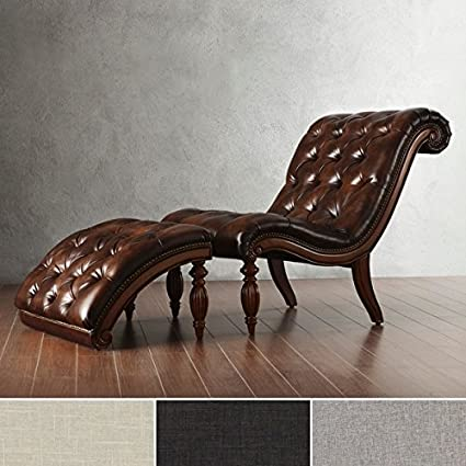 amazon com brown leather chaise lounge chair with ottoman