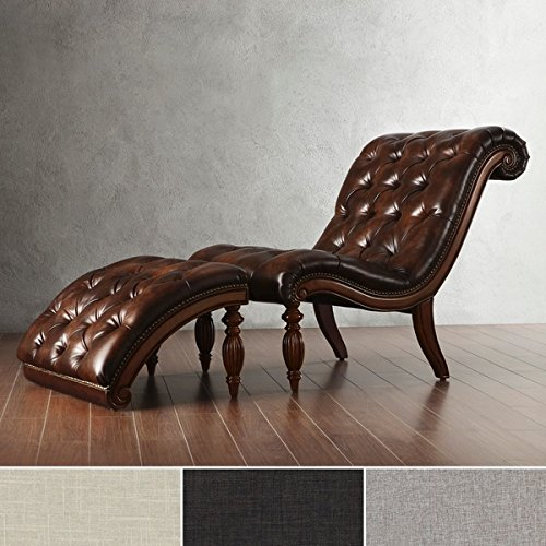 Brown Leather Chaise Lounge Chair with Ottoman - Victorian Lounge, Indoor Chaise