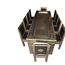 Metal And Leather Arabesque Carved Door Dining Table And 10 Chairs