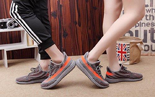 Damen Laufschuhe für Herren im Freien Mesh Lace Up Fashion Sneakers von JiYe Orange Grau